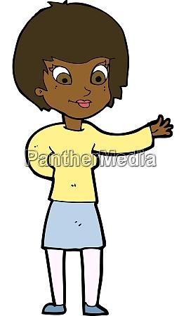 cartoon welcoming woman