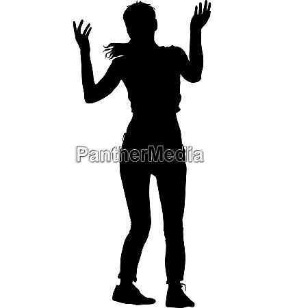 schwarze silhouetten von schoenen frau auf
