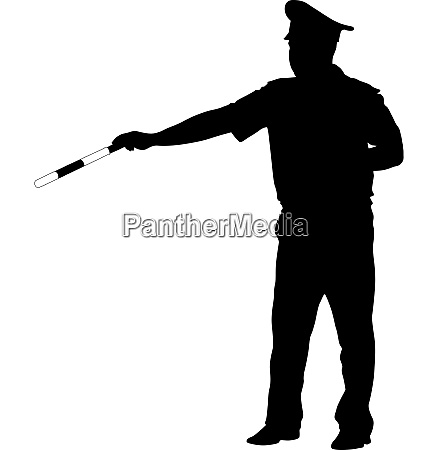 black silhouettes of police officer with