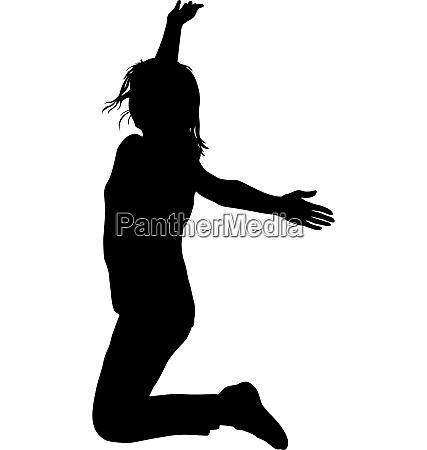 silhouette junge maedchen springt mit den
