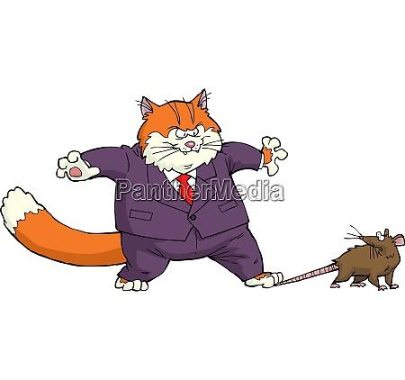 cartoon katze gefangen die maus vektor