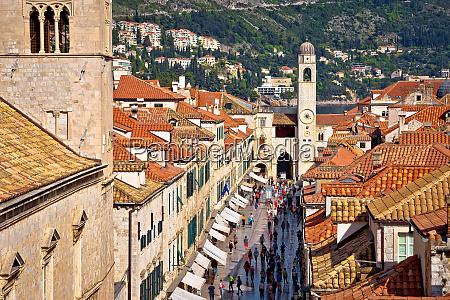 famous stradun street in dubrovnik view