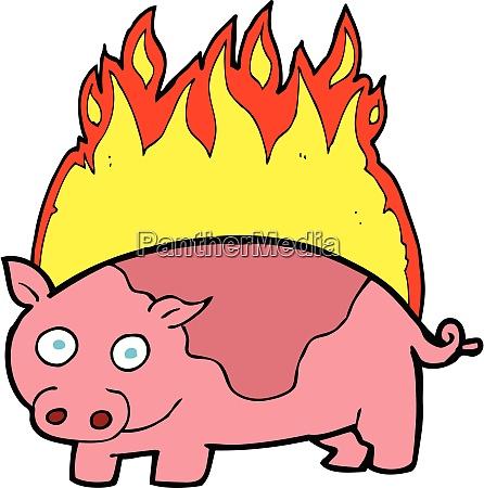cartoon pig on fire cartoon