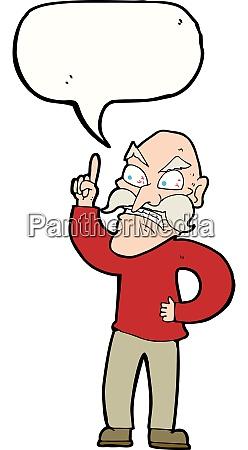 cartoon alter mann legt regeln mit