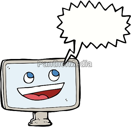 cartoon computer bildschirm mit sprechblase