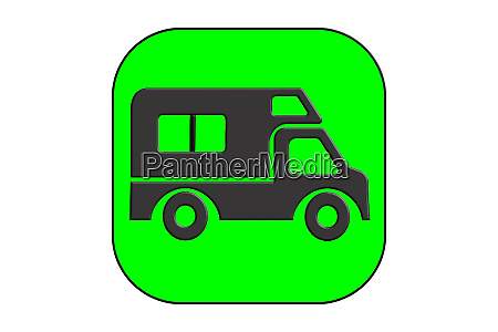 black silhouetted icon for motorhome