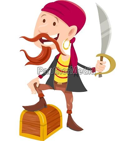 pirate with treasure chest cartoon illustration