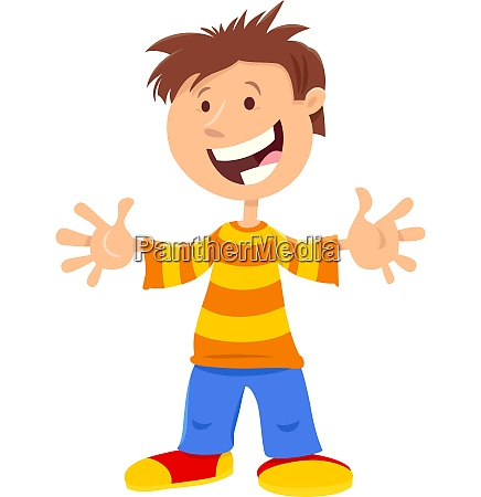 happy boy comic cartoon character