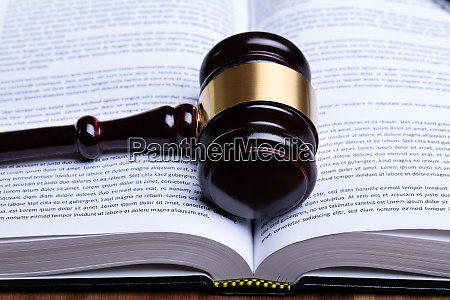 gavel over opened law book