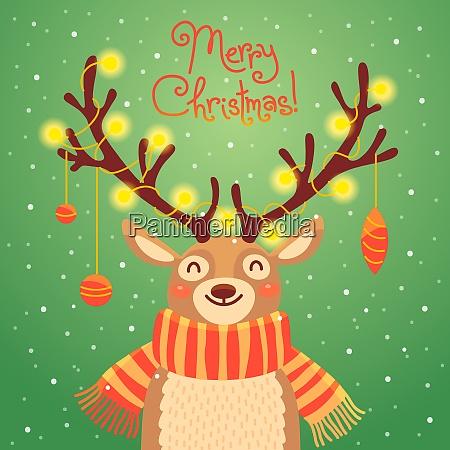christmas card cute cartoon deer with