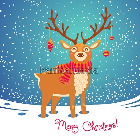 christmas card with reindeer cute cartoon