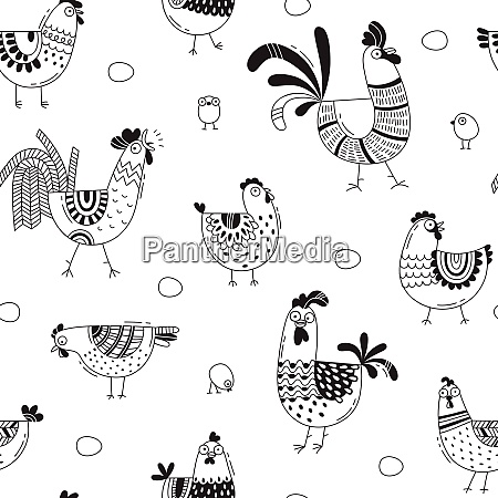 seamless pattern with chickens roosters eggs