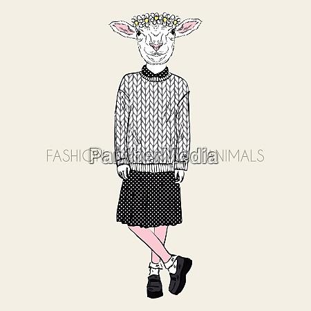 fashion illustration of cute ship girl