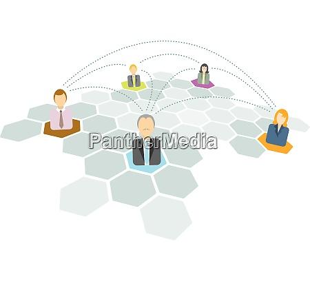 geschaeftsleute verbinden netzwerksymbole