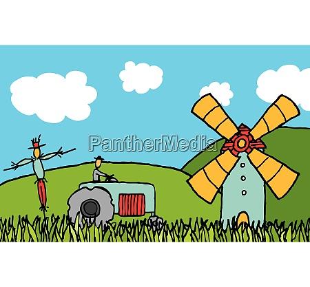 cartoon, country, field - 26763999