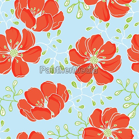 vector background with hand drawn flowers