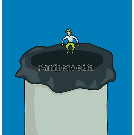 cartoon illustration von puny mann sitzt