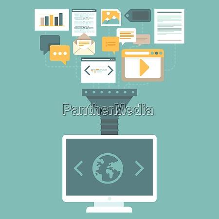vector digital marketing concept in flat