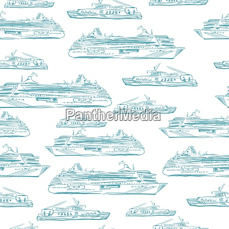 seamless sea hand drawn pattern with