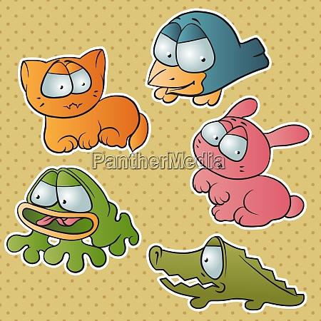set of five cute cartoon vector