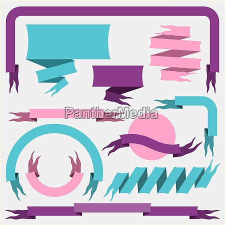 set of ribbons and banners vector