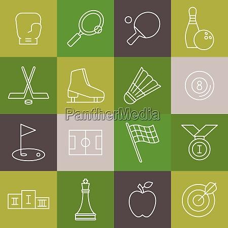 vektor lineare sport icons gesetzt