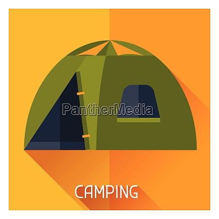 tourist creative illustration of camping tent