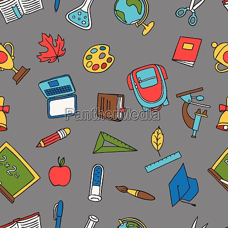 school seamless pattern with education hand