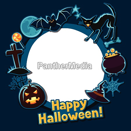 happy halloween greeting card with stickers