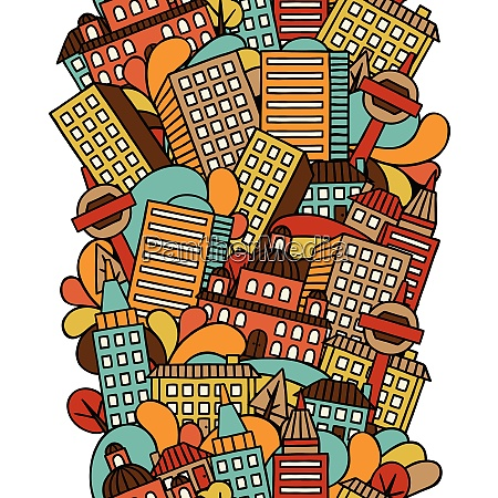 town seamless pattern with hand drawn