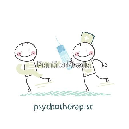 psychotherapeut mit spritze die die verrueckten