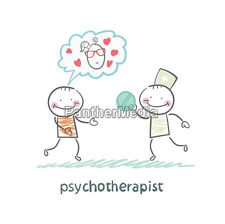 psychotherapeut gibt dem patienten eine pille