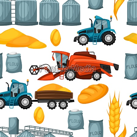agricultural seamless pattern with harvesting items
