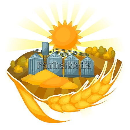 granary on wheat field agricultural illustration