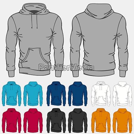 satz von farbigen hoodies vorlagen fuer