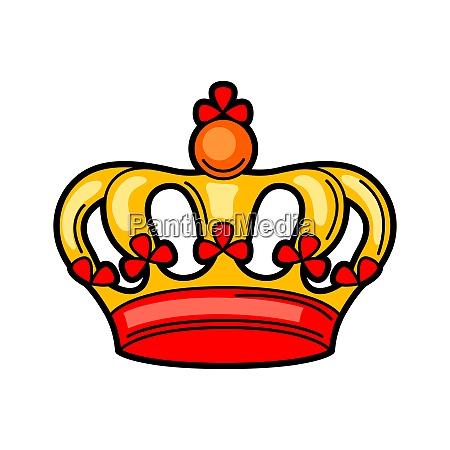 crown retro tattoo symbol cartoon old