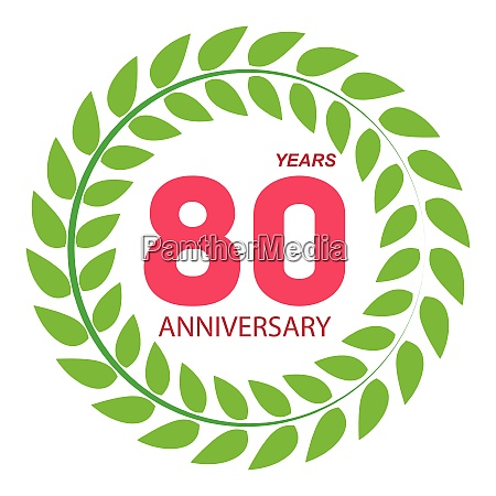 vorlage logo 80 jahrestag in lorbeer