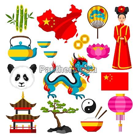 china ikonen gesetzt chinesische symbole und