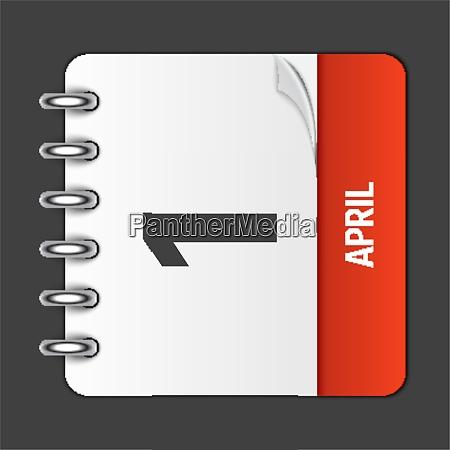 april 1 calendar daily icon vector