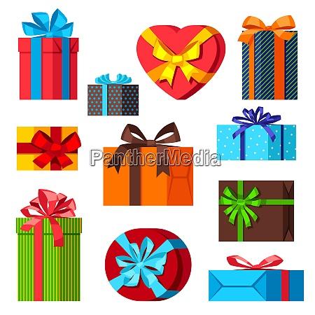 celebration icon set of colorful gift