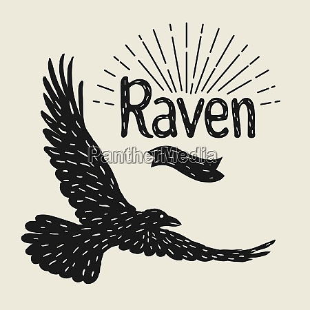 background with black flying raven hand