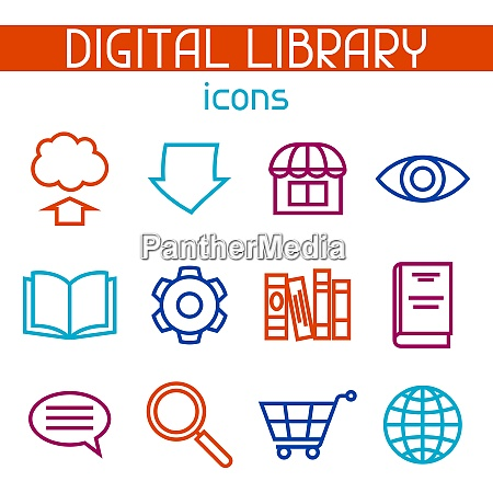 digital library icon set e books