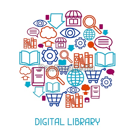 digital library concept background e books