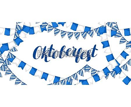 girlande mit fahnen oktoberfest bierfest banner