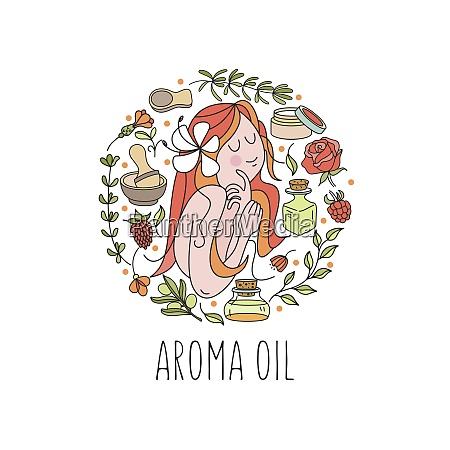 herbal cosmetics aromatic natural oils vector