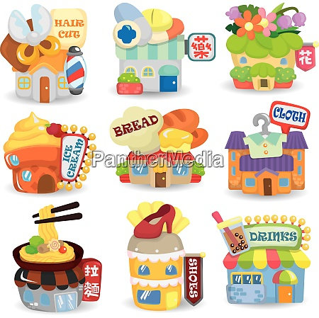 cartoon shop store market theme cartoon