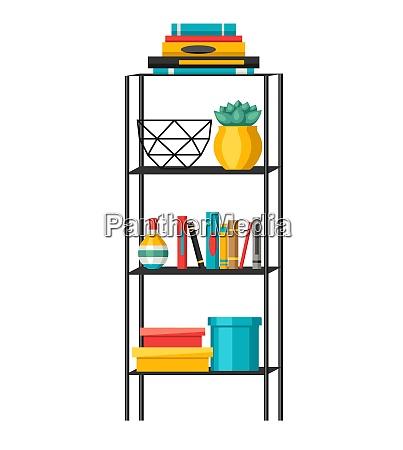 interior home decor shelves with books