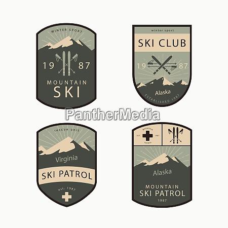 outdoor aktivitaet ski patrouille emblem abzeichen