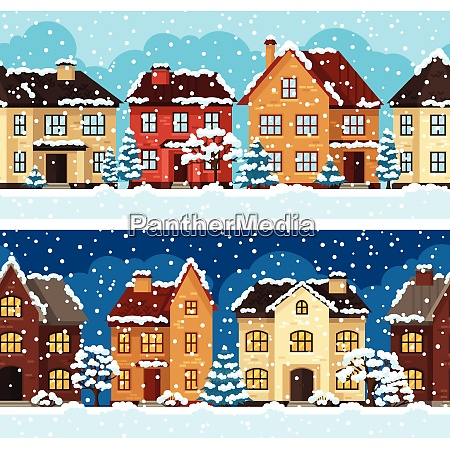 winter urban landscape pattern with houses