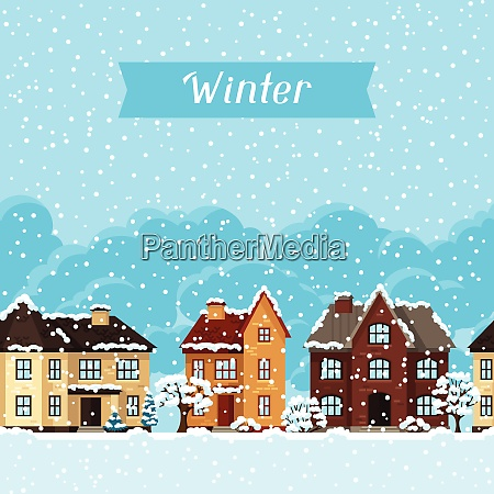 winter urban landscape card with houses